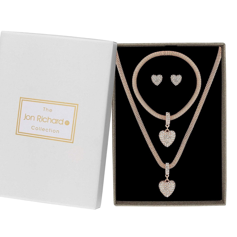 d2ac5a08a83 Jon Richard Women's Rose Gold Crystal Pave Heart Jewellery Set in A Gift  Box: Amazon.co.uk: Jewellery