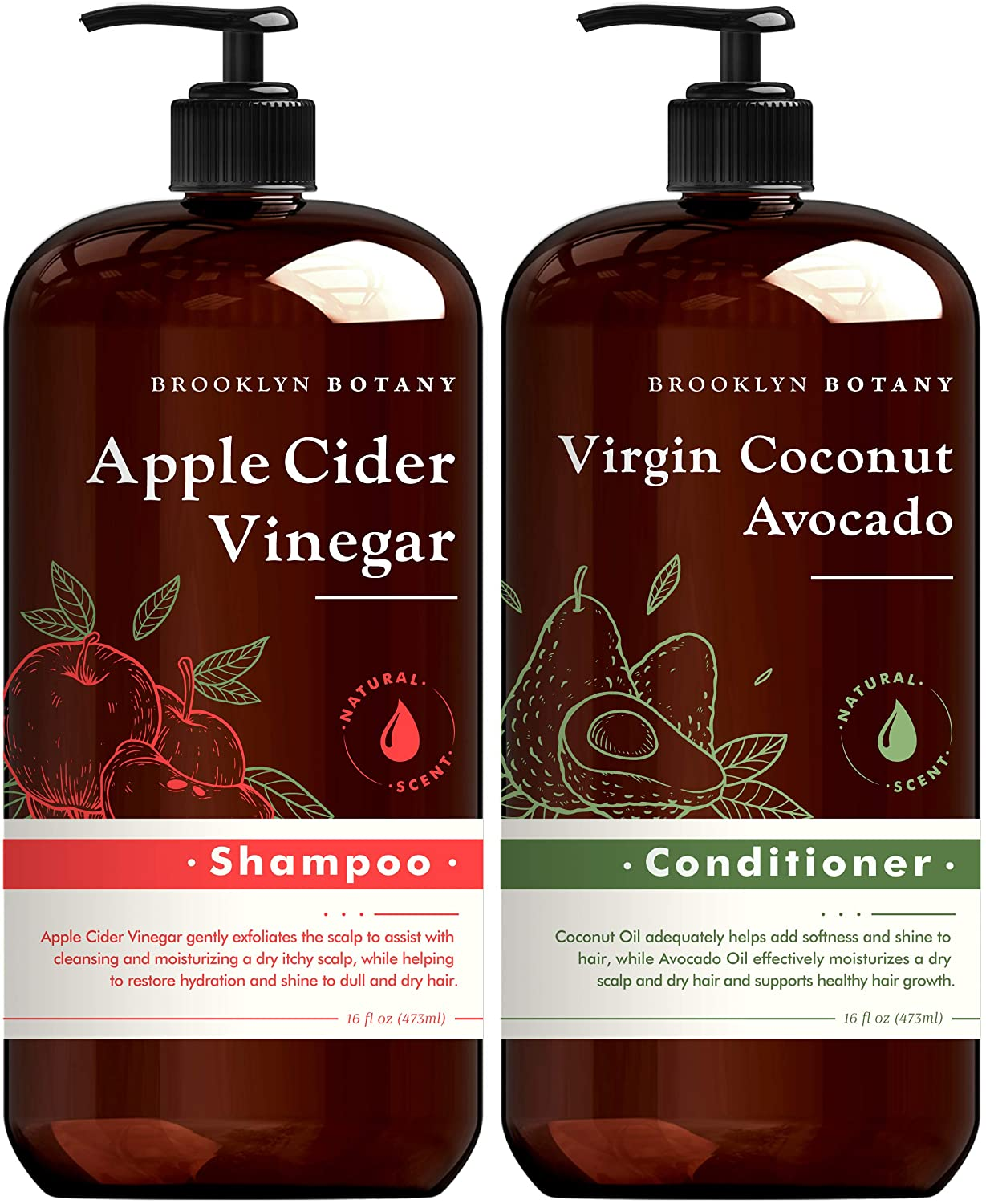 Brooklyn Botany Apple Cider Vinegar Shampoo and Coconut Avocado Oil Conditioner Set Hydrating and Clarifying - Helps Restore Shine and Gloss to Dry Hair and Itchy Scalp – Sulfate Free Shampoo – 16 Oz