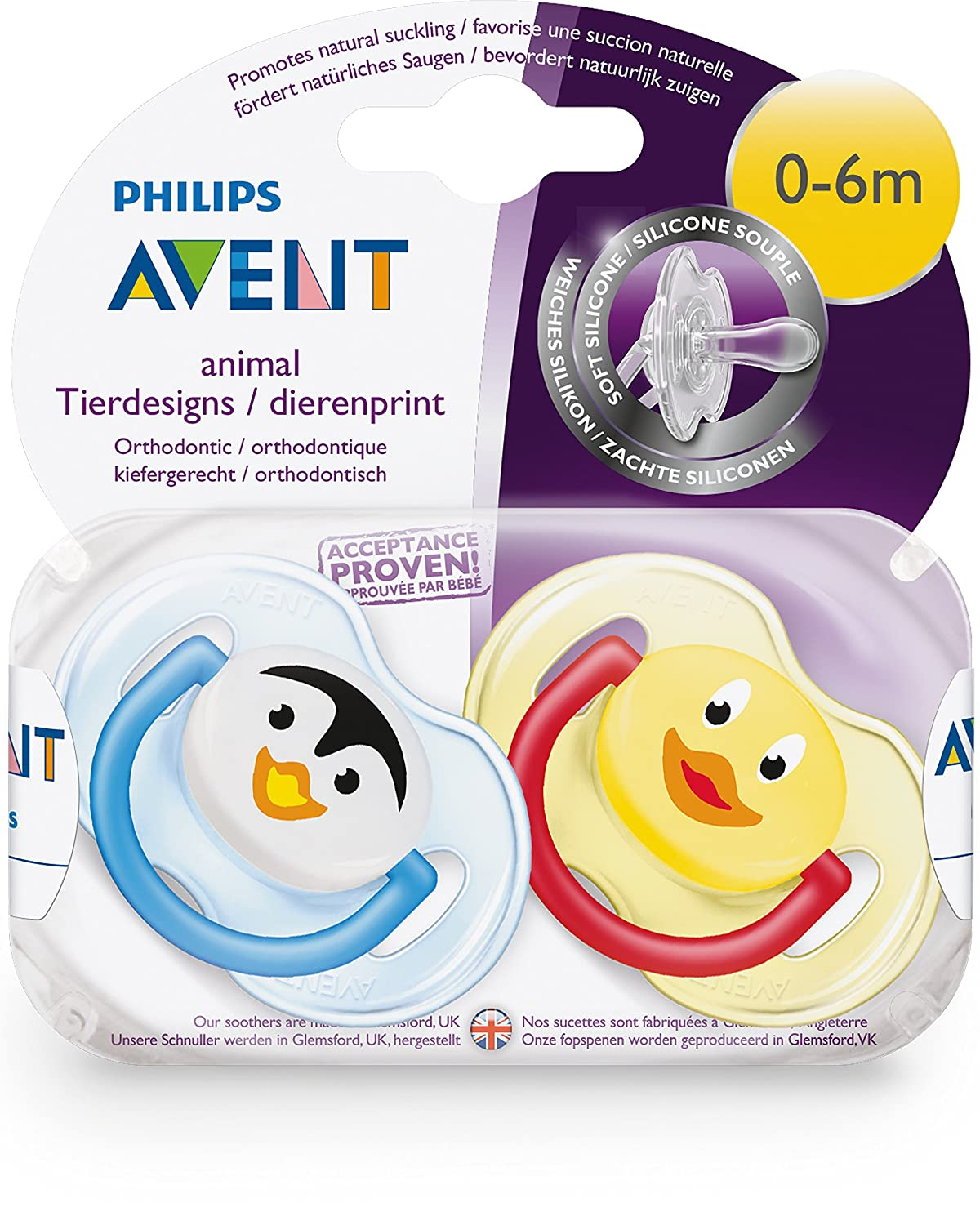 Amazon.com: Avent Soothers Silicone 0-6 Months + Animal ...