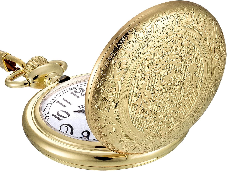 Vintage Acero Inoxidable Cuarzo Reloj de Bolsillo Cadena