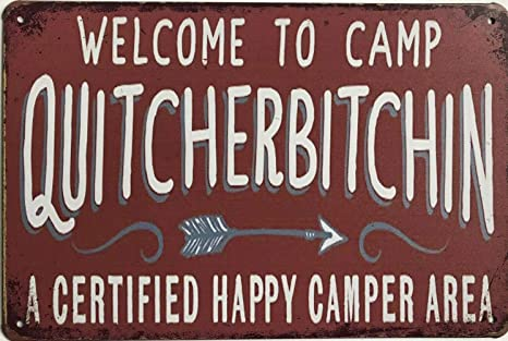KITCHEN BAR VINTAGE LOOK SIGN FUNNY CAMPING WITHOUT BEER