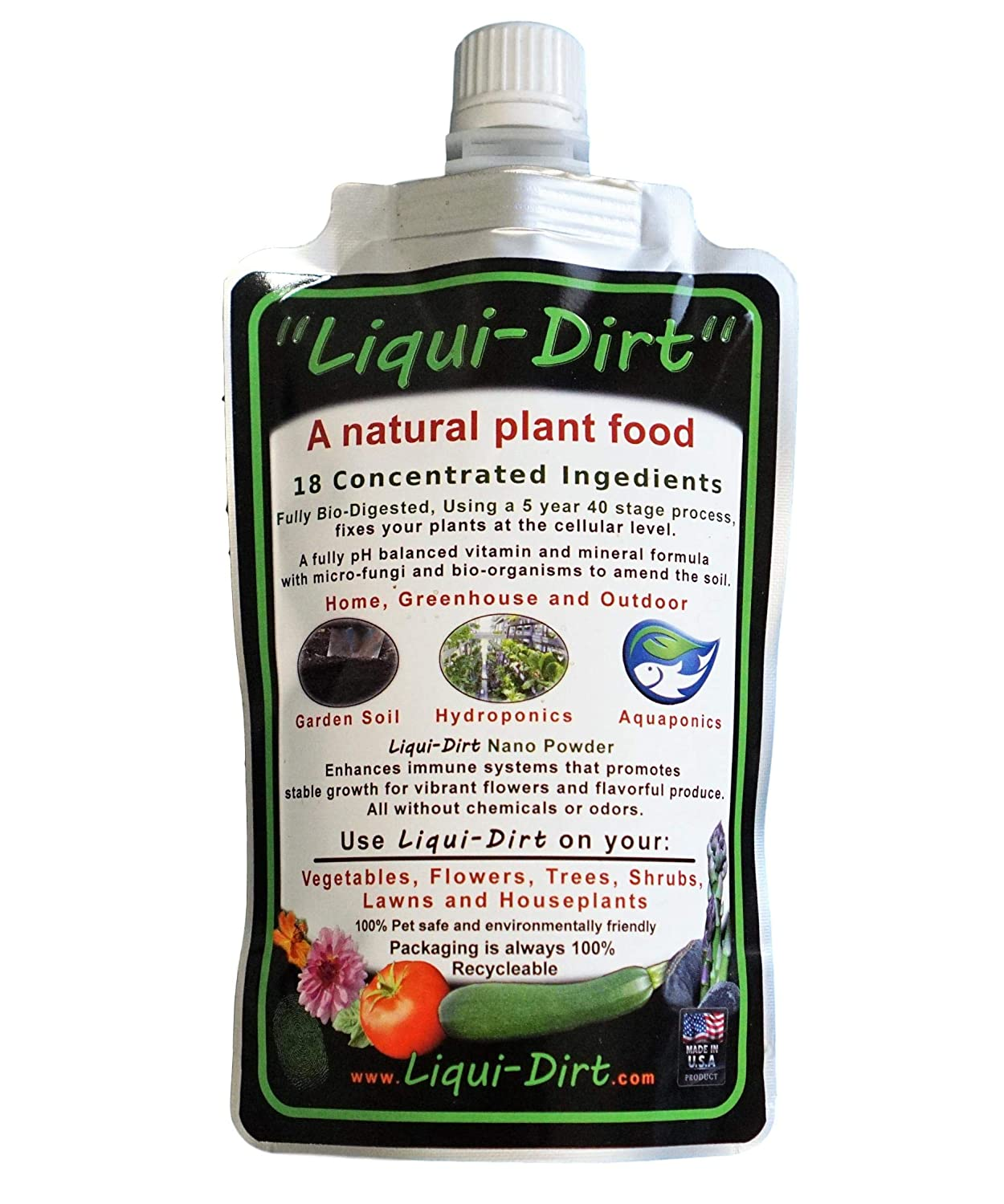 LiquiDirt Complete Plant Nutrition (8oz Bottle: Makes 45 to 1000 gallons) Liqui-Dirt Natural Organic Earth-Friendly Pet-Safe Plant Supplement Indoor Outdoor Garden