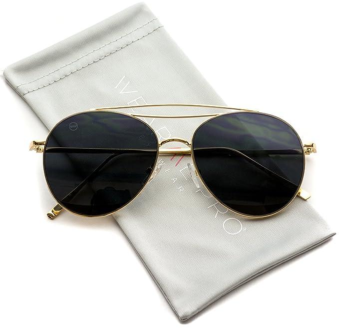 WearMe Pro – Gafas de Sol Modernas Redondas Doble Barra Transversal Estilo
