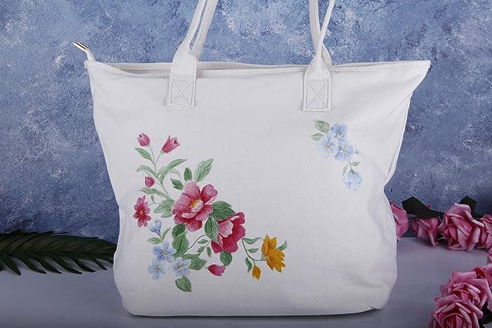 3cbc58d8d19a Hand Painted Floral Large Canvas Tote Bag with Pocket Zipper-Women Cute  Fabric Cotton Linen Vegan Shoulder Bag Handbag-Oversize Flower Purse-Reusable  ...