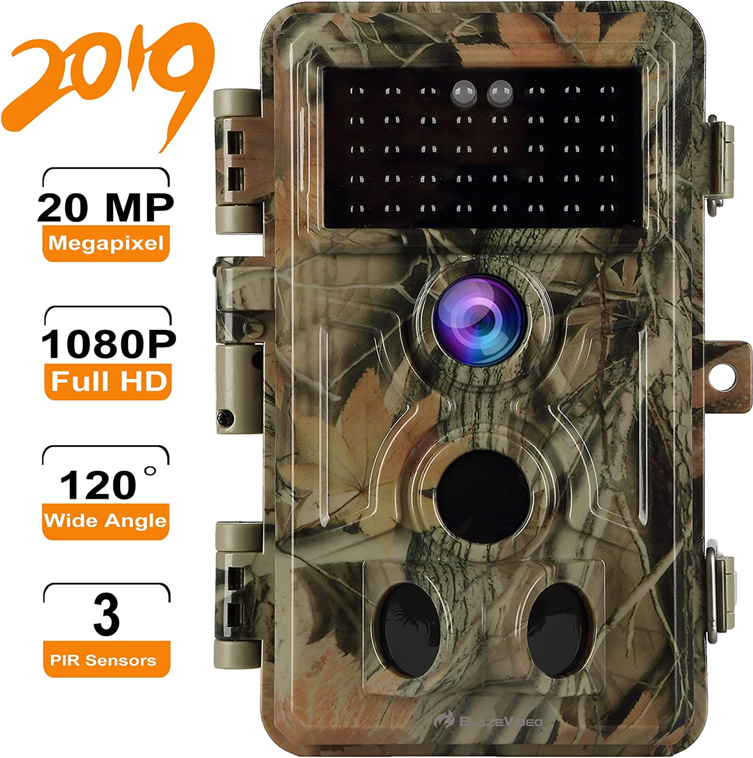 Game Trail Camera HD 20MP Picture 1920x1080P Audio Video No Glow with Night Vision, Deer Hunting Camera 120 3-PIR Motion Activated 0.2S Trigger Speed, IP66 Waterproof, Photo Video Model