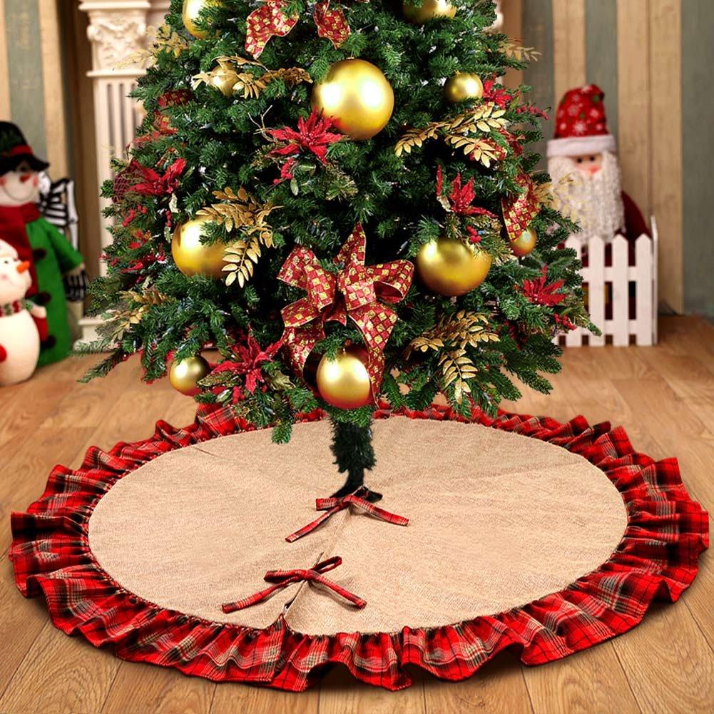 OurWarm Linen Burlap Christmas Tree Skirt Red Black Plaid Ruffle Edge Border Large 48 Inches Round
