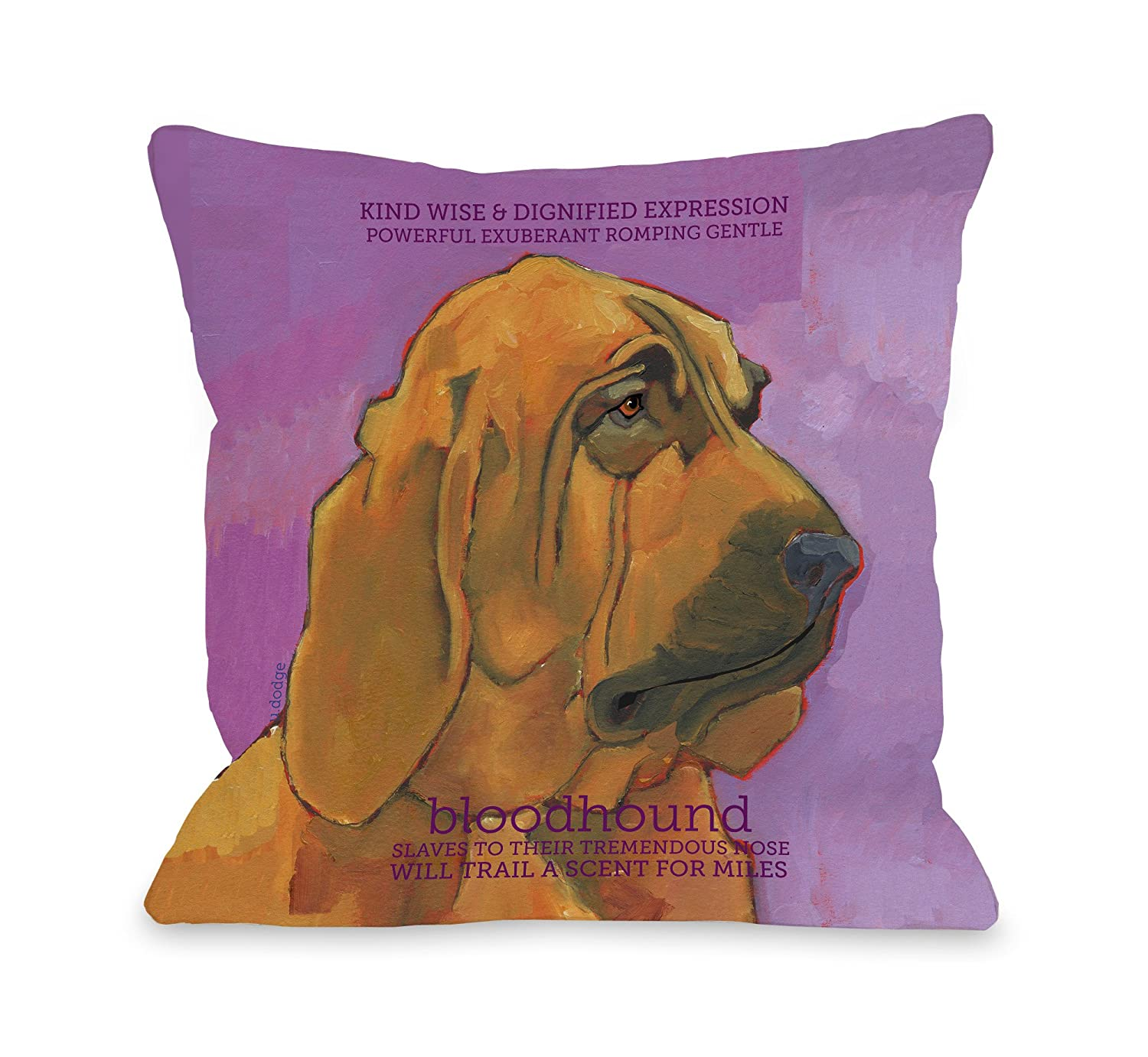 One Bella Casa Bloodhound 1 Pillow 16 by 16-inch