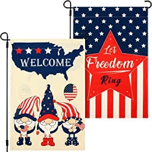 2 Pieces Independence Day Garden Flag Welcome America Gnome Garden Flag Let Freedom Ring House Flag Double Sided Patriotic Burlap Flag 4th of July Strip and Star Yard Flag for Home Yard, 12 x 18 Inch