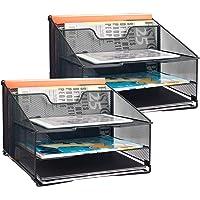 Samstar 2 Pack Mesh Desk File Organizer Letter Tray Holder, Desktop File Folder Holder with 3 Paper Trays and 2 Vertical…