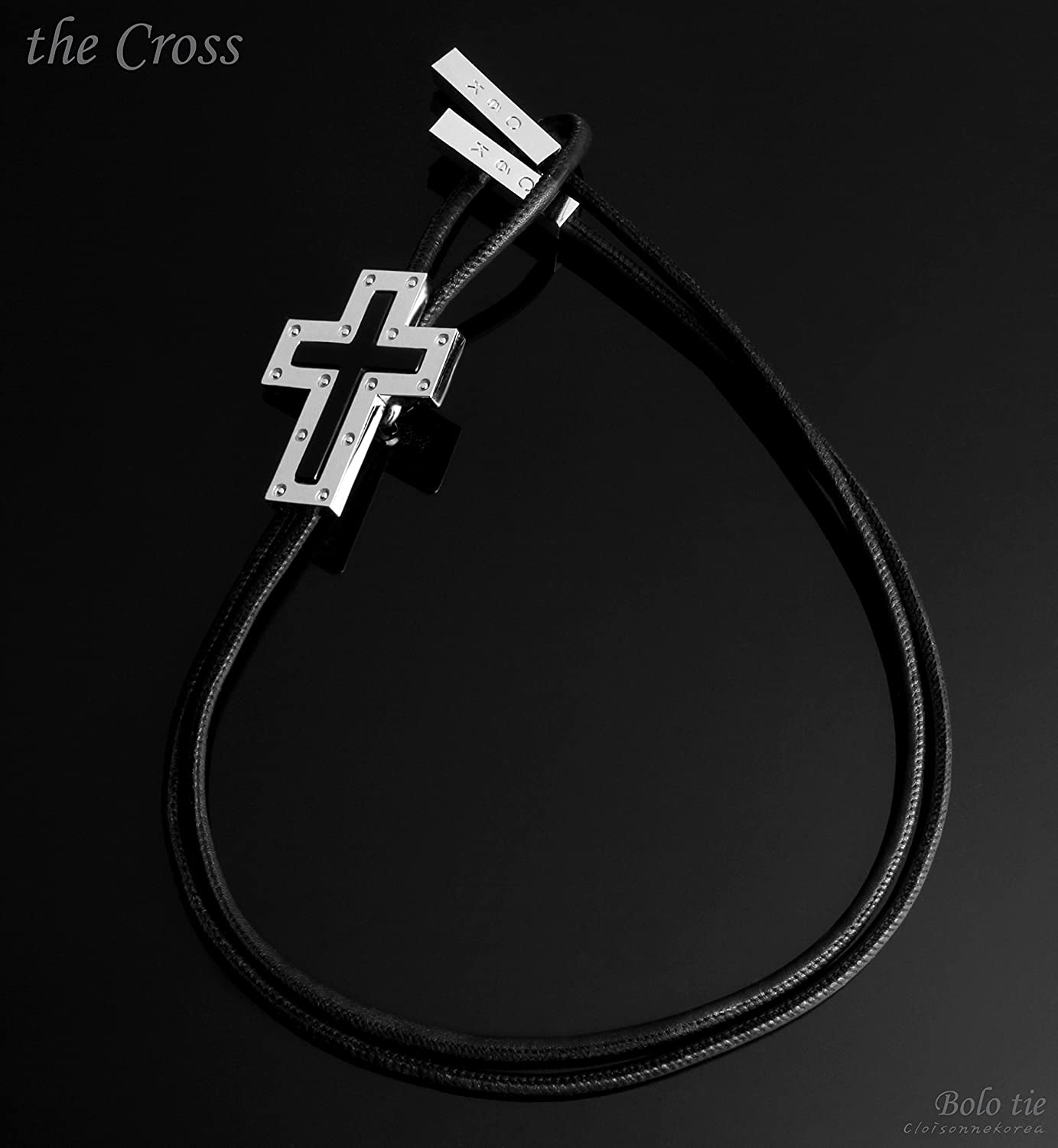 X71 Bolo Tie Gemstone Onyx Genuine Leather Mens Glossy Metal The Cross Collection