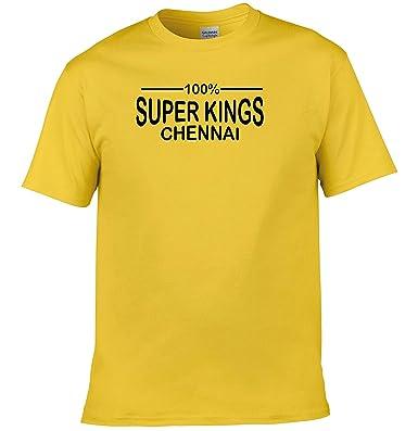 a09071a4fcf 100% Chennai Super Kings IPL 2018 Cricket T-Shirt Mens Yellow: Amazon.co.uk:  Clothing