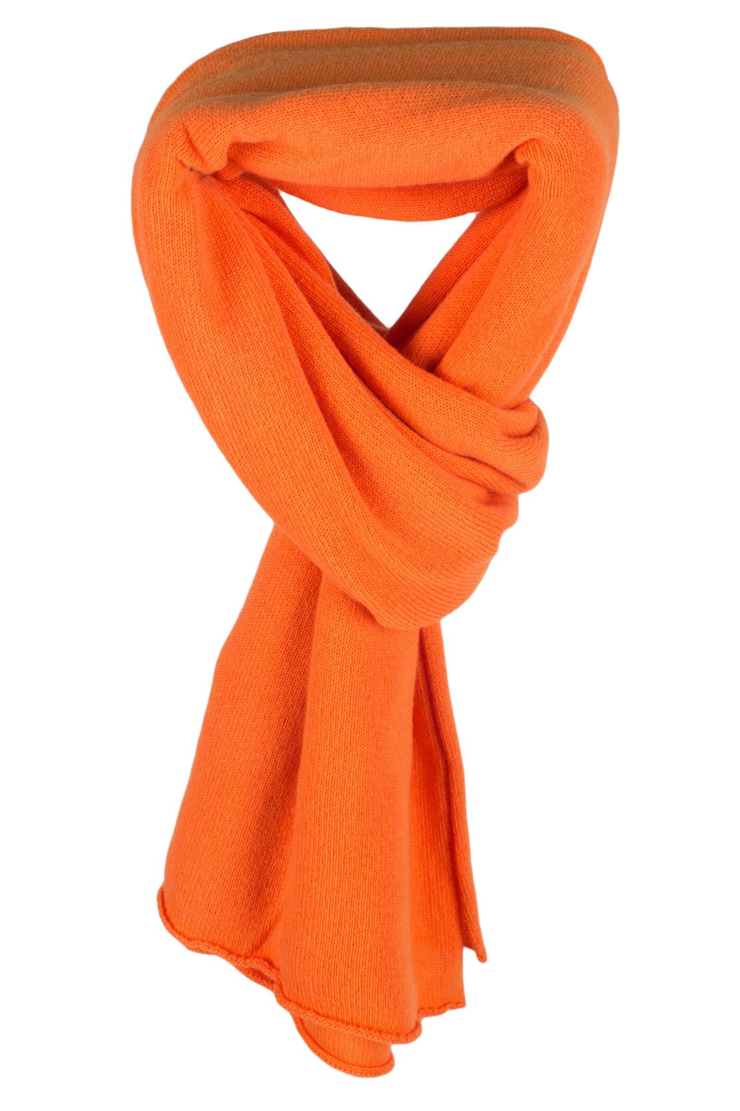 Ladies 100% Cashmere Wrap Scarf - Orange - hand made in Scotland by Love Cashmere