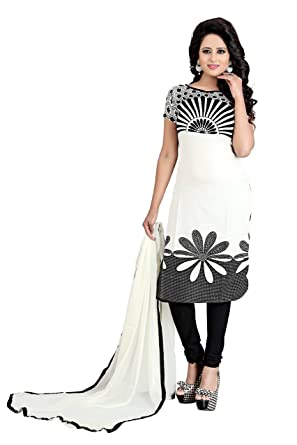 cae61962b1e38 Amazon Great Indian Sale Dresses for women party wear Designer Clothing  Today Offer Low Price Sale Top White Color Crepe Fabric Free Size Salwar  Suit: ...