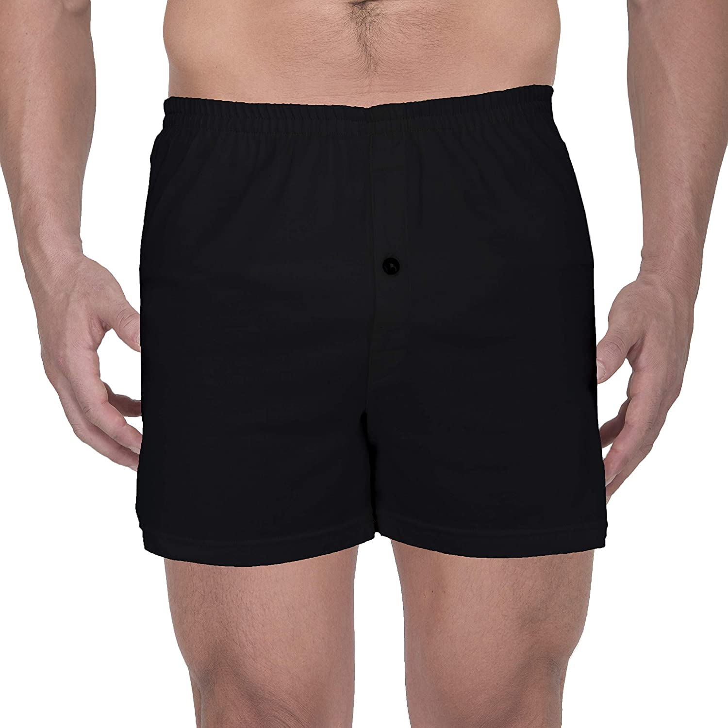 Cottonique Mens Elasticized Loose Boxer Shorts Made from 100/% Organic Cotton Melange Grey