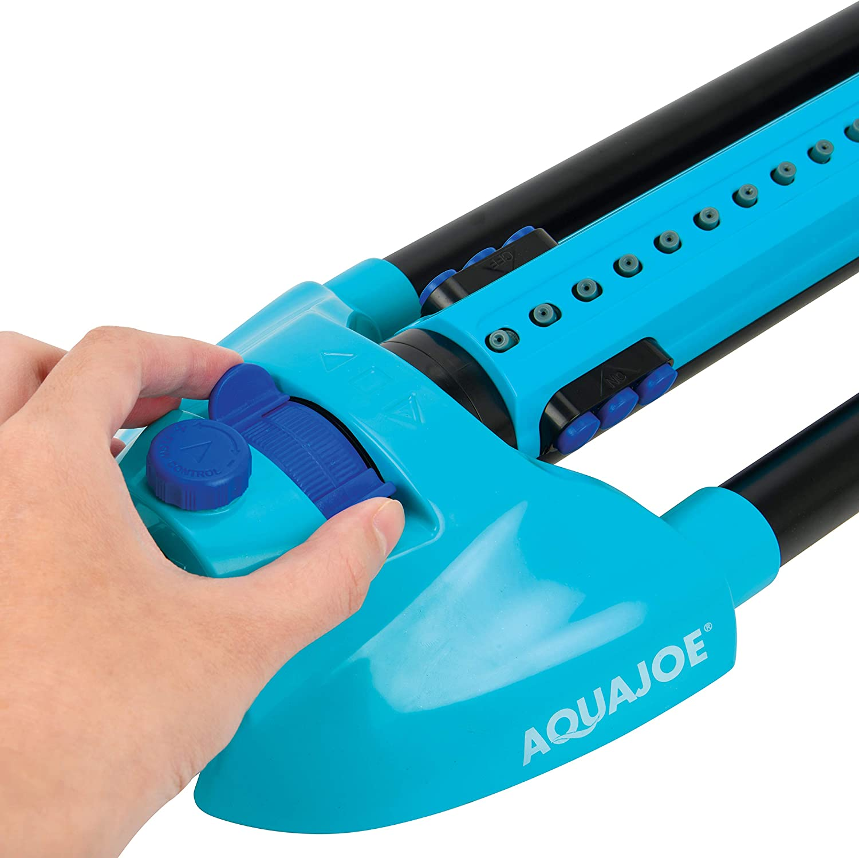 Aqua Joe AJ-OMS20-BRS 4973 Sq Ft Variable-Width Turbo Oscillating Sprinkler 6 Switchable Spray Nozzles