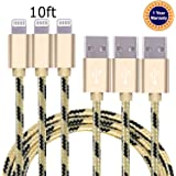 Jricoo 3pcs 10FT Lightning Cable Popular Nylon Braided Charing Cable Extra Long USB Cord for iphone 6s, 5SE, 6s plus, 6plus, 6,5s 5c 5,iPad Mini, Air,iPad5,iPod on iOS9.(gold+black).