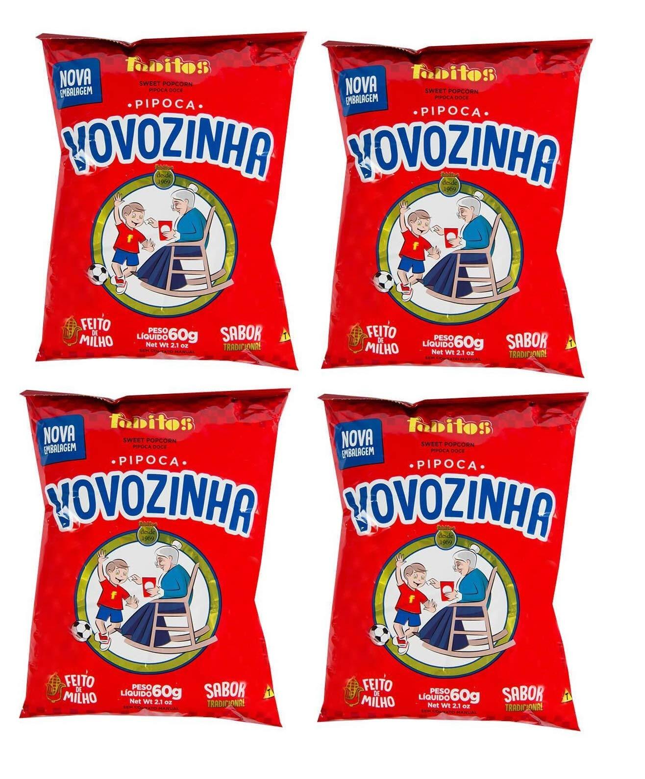 Vovozinha - Sweet Popcorn - 2.1 oz (PACK OF 04)   Pipoca Doce - 60g