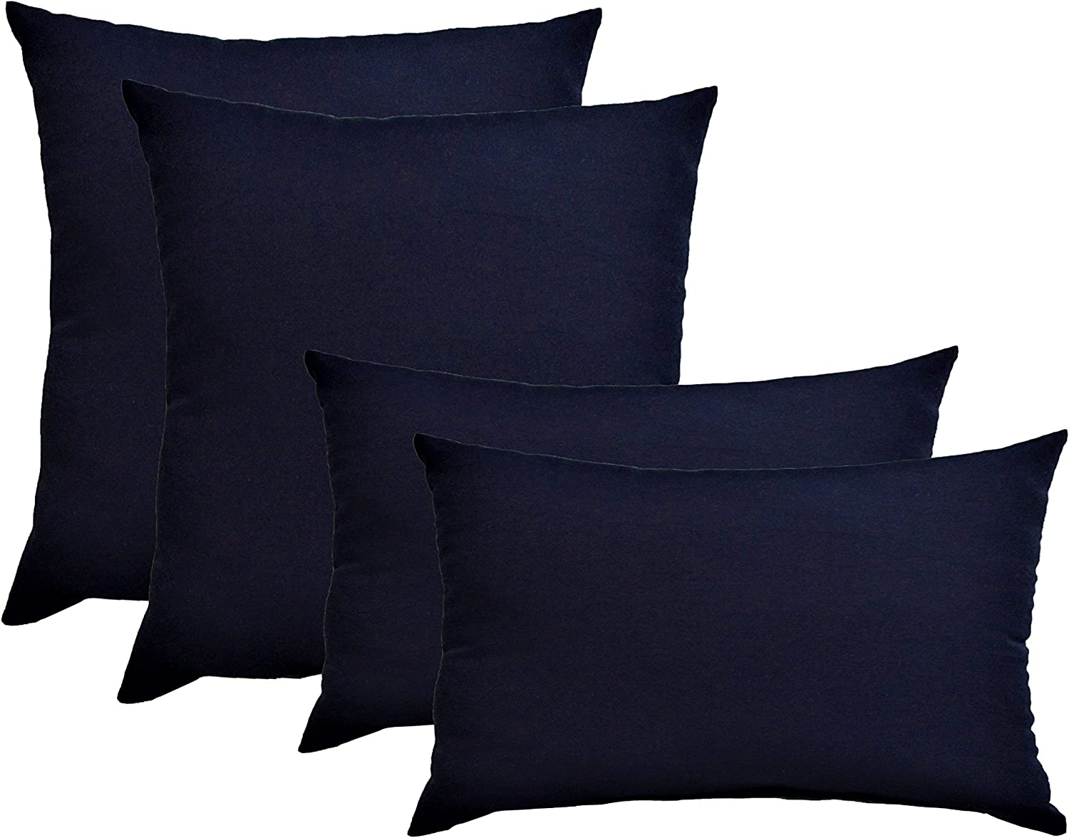 Amazon Com Set Of 4 Indoor Outdoor Pillows 2 Square Pillows 2 Rectangle Lumbar Decorative Throw Pillows Solid Navy Blue Fabric 17 X 17 Square 12 X 20 Lumbar Kitchen Dining