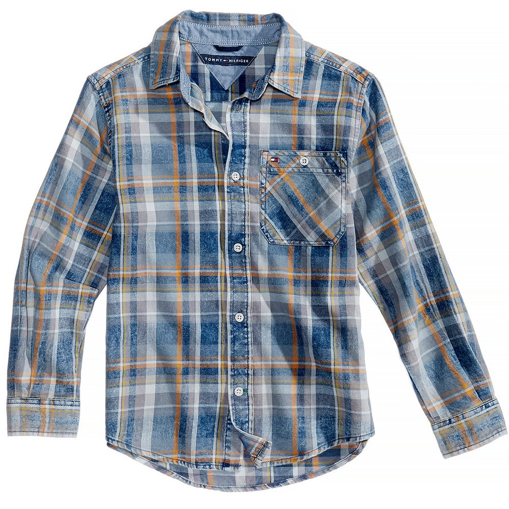Tommy Hilfiger Chance Plaid Cotton Shirt, Little Boys (Honorable Blue, Medium 12/14)