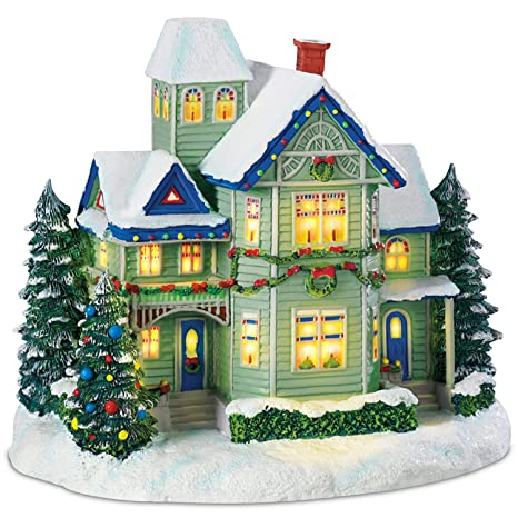 Christmas Village Houses.Hawthorne Village Thomas Kinkade Candle Glow House Sculpture Brings The Village Christmas Spirit To Your Home Decor And Holidays