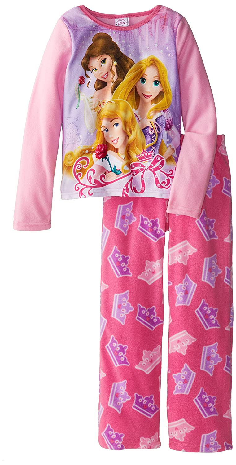 Disney Princess Big Girls' Belle Aurora Rapunzel Cozy Fleece Pajama Set Multi 8 AME Sleepwear Girls 2-6x