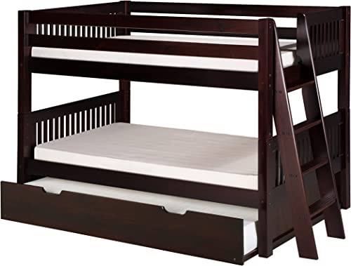 Camaflexi Mission Style Solid Wood Low Bunk Bed with Trundle, Twin-Over-Twin, End Angled Ladder, Cappuccino