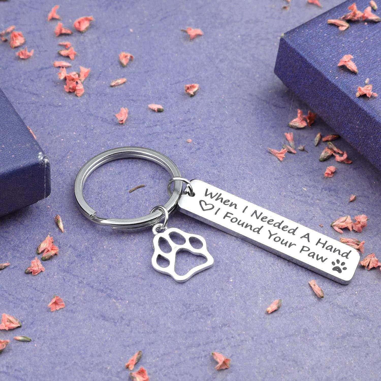 Found Your paw KR EIGSO Paw Print Keychain When I Needed A Hand I Found Your Paw Jewelry Dog Lovers