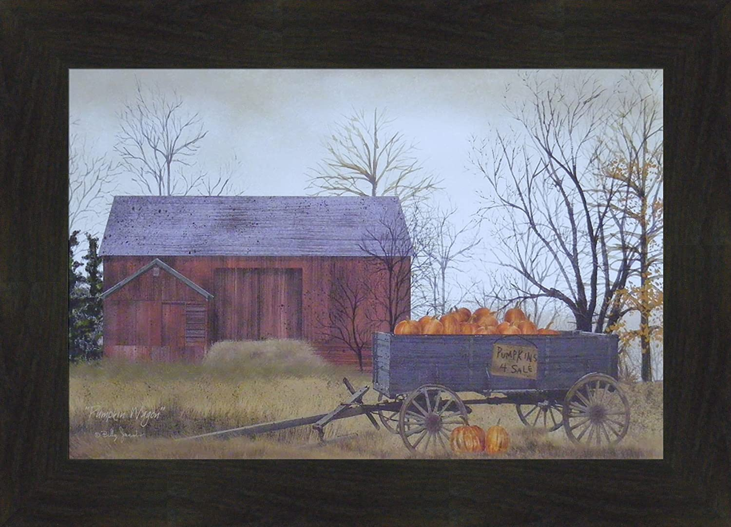Home Cabin Décor Pumpkin Wagon By Billy Jacobs 15x21 Pumpkins For Sale Red Barn Wagon Fall Autumn Crops Primitive Folk Art Print Framed Picture