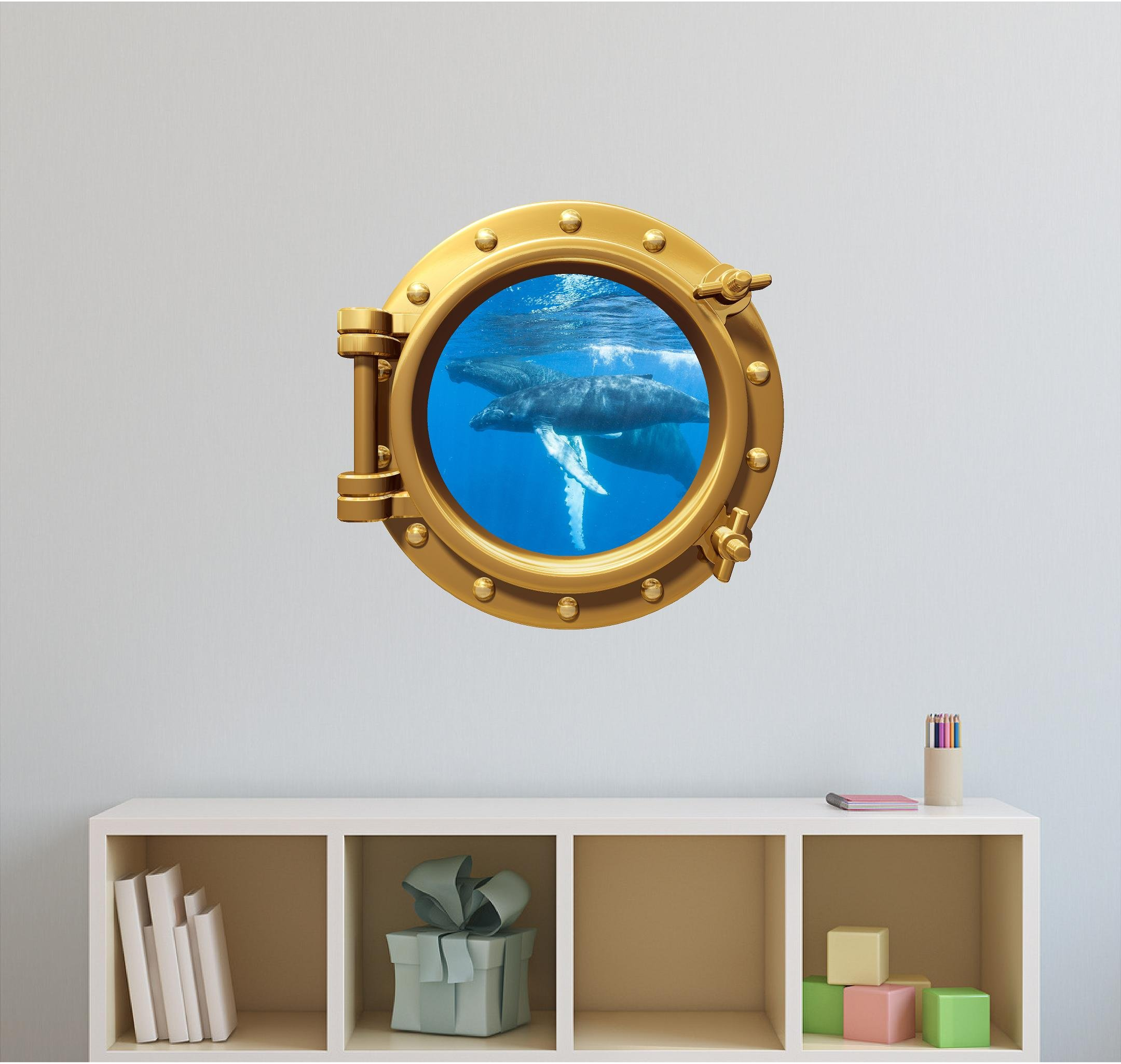 24'' Port Scape WALL DECAL! HUMPBACK WHALE #1 BRONZE Porthole Sticker Large Mural for Kids Rooms