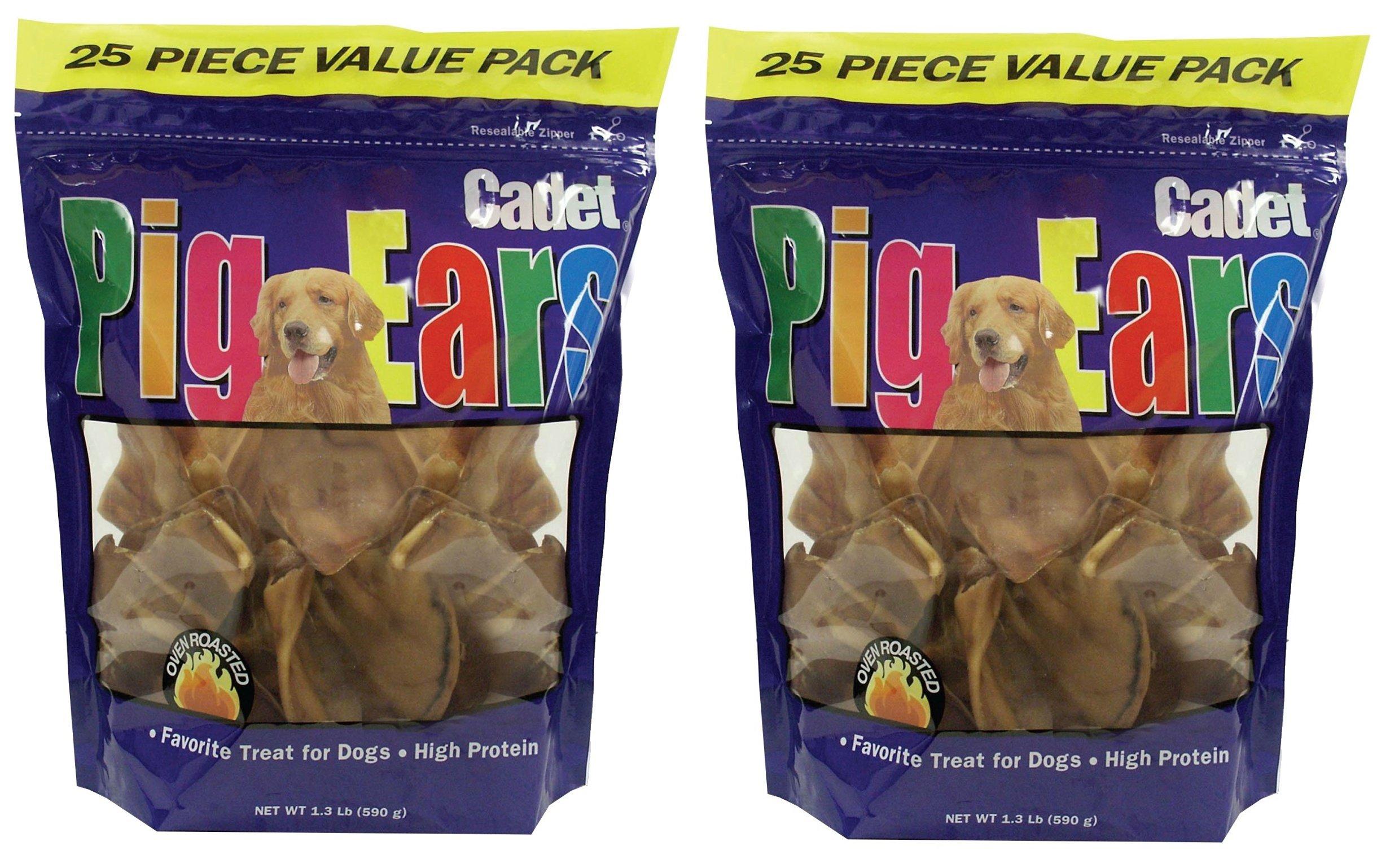 (2 Pack) Cadet Pig Ears - Dog Chews, 25 each