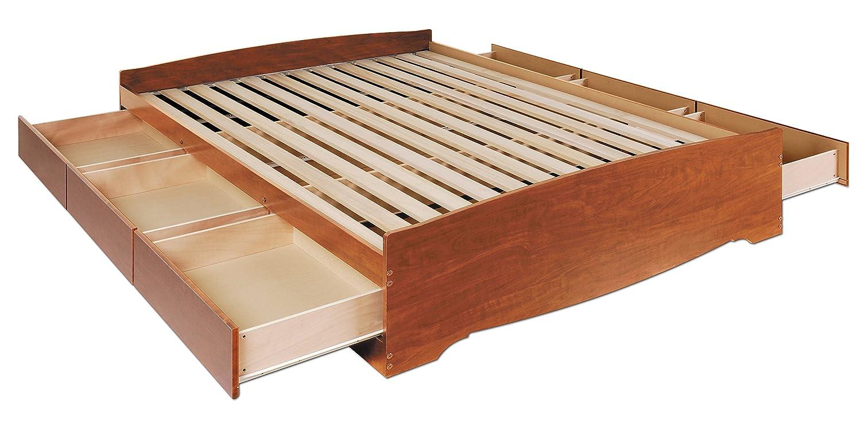 amazoncom cherry queen mateu0027s platform storage bed with 6 drawers kitchen u0026 dining