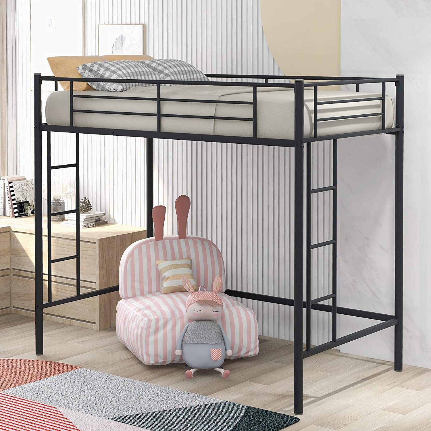 Twin Loft Bed Frame with 2 Ladders, High Metal Loft Bed for Kids, 220 lbs Weight Limits, Twin Size, Black