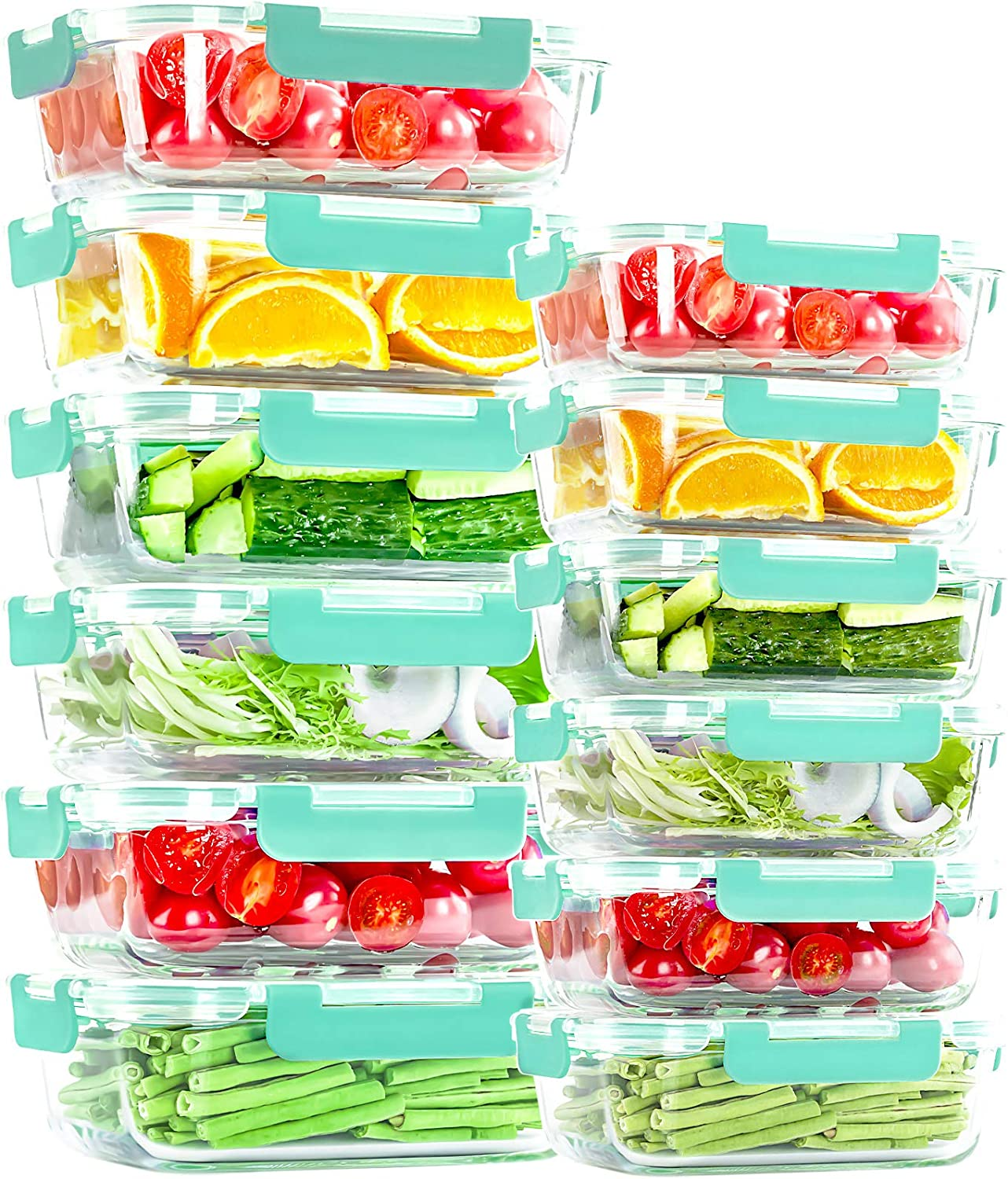 Glass Food Storage Containers [24 Piece], Airtight Glass lunch Bento Box Containers with Lids, Great on-the-go, Glass Meal Prep Containers, Microwave, Oven, Freezer, Dishwasher Safe