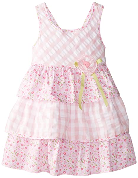 6488c68a012 Bonnie Jean Little Girls' Seersucker Check and Floral Tiered, Pink, ...
