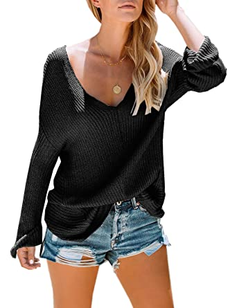 054b54ea9e PiePieBuy Womens Oversized Sweater Fall Lightweight V Neck Loose ...