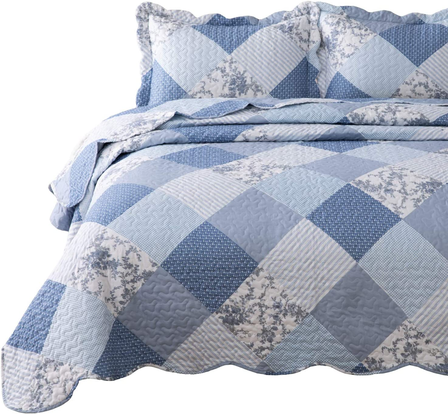 Bedsure 3-Piece Printed Quilt Set Queen/Full Size (90x96 inches), Blue Floral Patchwork Pattern, Lightweight Bedspread Coverlet Design for All Season, 1 Quilt and 2 Pillow Shams