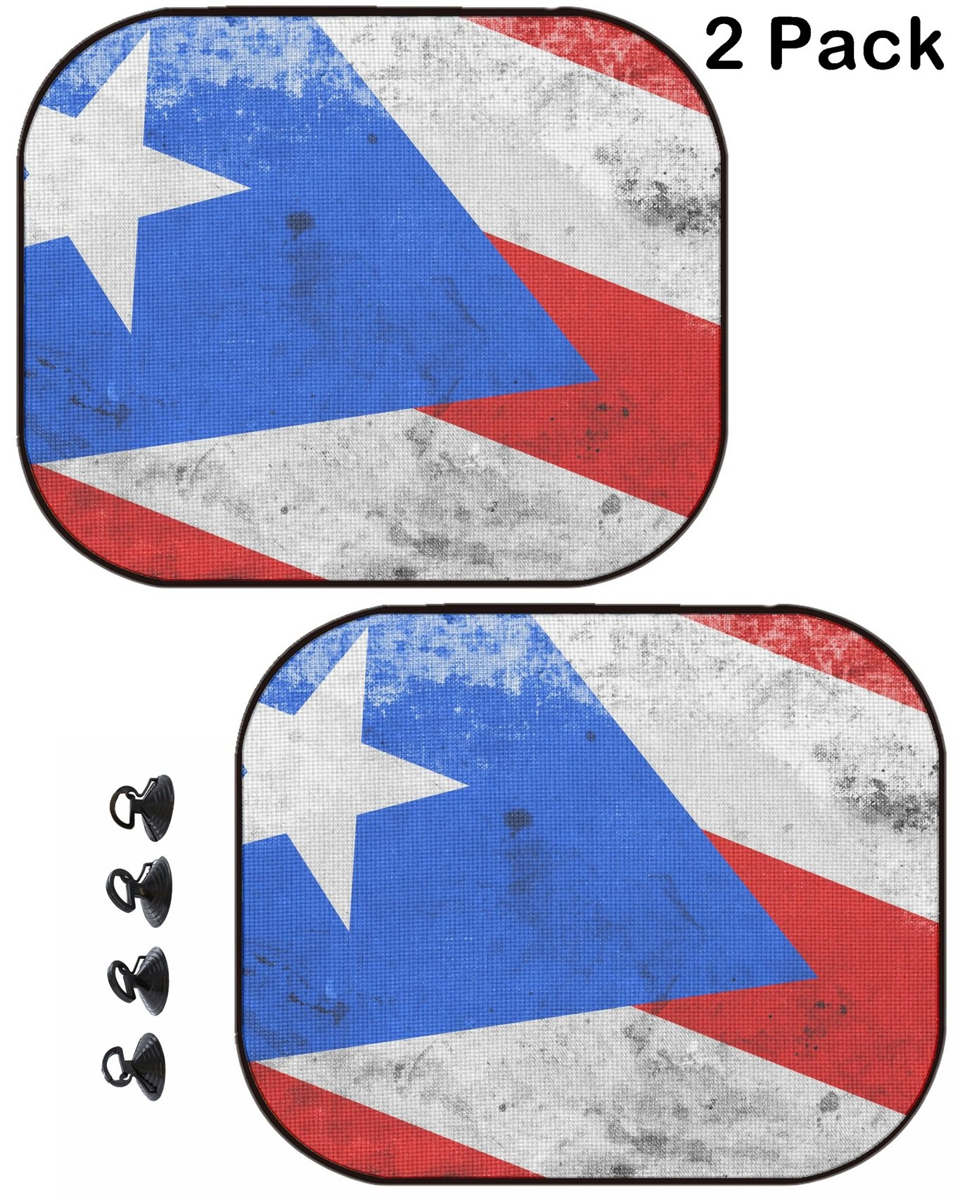 MSD Car Sun Shade Protector Side Window Block Damaging UV Rays Sunlight Heat for All Vehicles, 2 Pack Image ID: 31045928 Puerto Rico Flag with a Vintage and Old Look