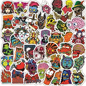 50PCS Skull Stickers for Water Bottles,Laptop Colorful Stickers Pack Skateboard Motorcycle Phone Luggage Guitar Graffiti