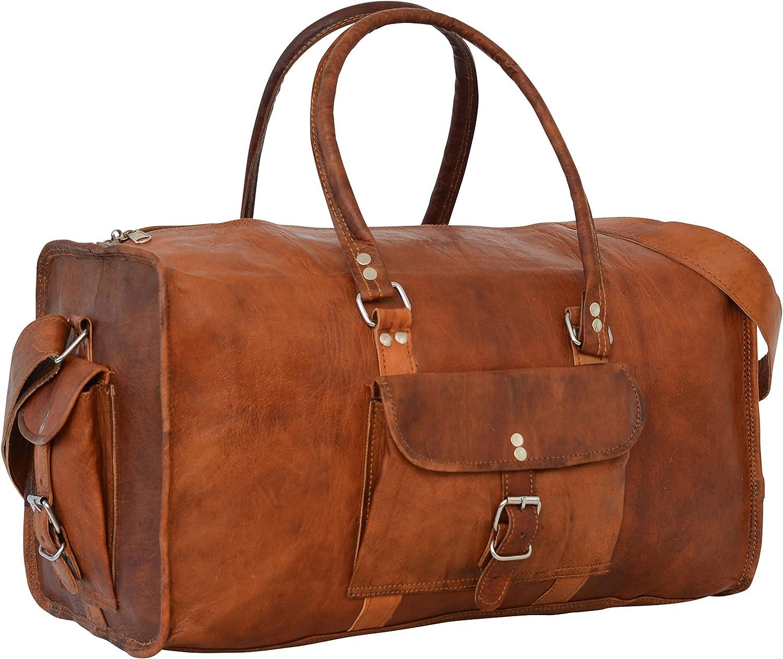 Cuir Vintage Texture Harry Grand Sac de Voyage//Sport//Duffel//Bagages Cabine Ch/âtaigne Marron ASHWOOD