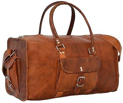 Sac de voyage - Barello Hemingway Duffle, bagage cabine vintage sac à bandoulière rétro bagage à main pour homme/femme, sac weekend véritable cuir