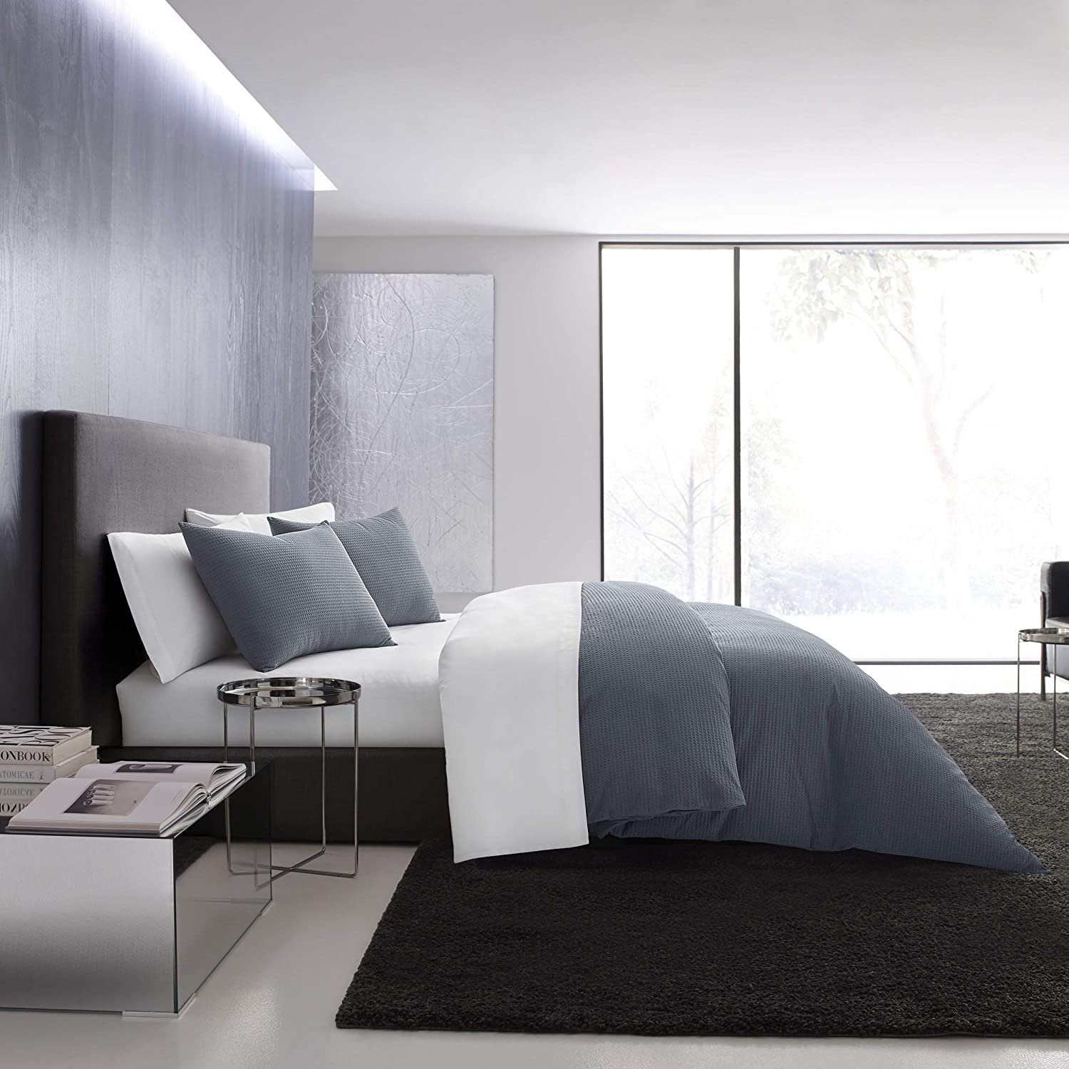 Vera Wang | Waffle Pique Collection | 100% Cotton Super Soft and Cozy Duvet Cover, Comfortable 3-Piece Bedding Set, Simple and Modern Style for Bedroom Décor, Queen, Blue