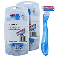 Amazon Brand - Solimo 3-Blade Disposable Razors for Women, 6 count (2 packs of 3)