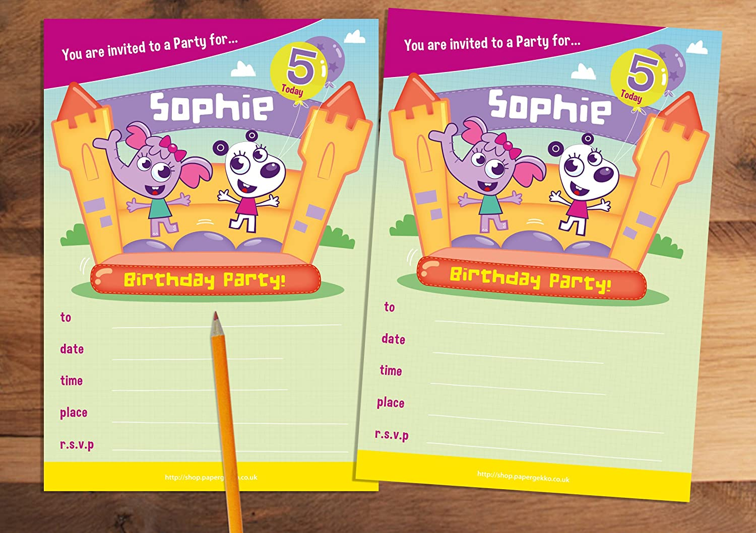 20 x A5 Childrens Birthday Party Invitations Various Designs