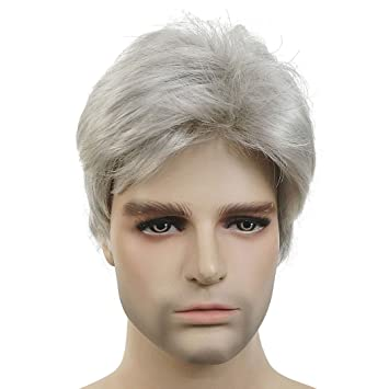 Amazon.com   Lydell Men Wig Natural Short Straight Hair Synthetic Full Wigs  ( 51Silver Grey)   Beauty 01ccaee70b27