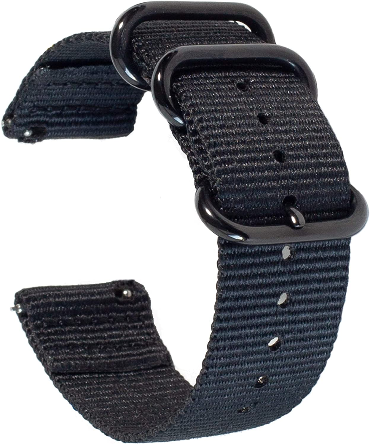 Carterjett Quick Release Watch Band 22mm - Black Nylon Military-Style Straps Compatible Samsung Gear Galaxy S3 Classic Frontier Moto Pebble Fossil Smartwatch Traditional 22 mm (S/M Black)