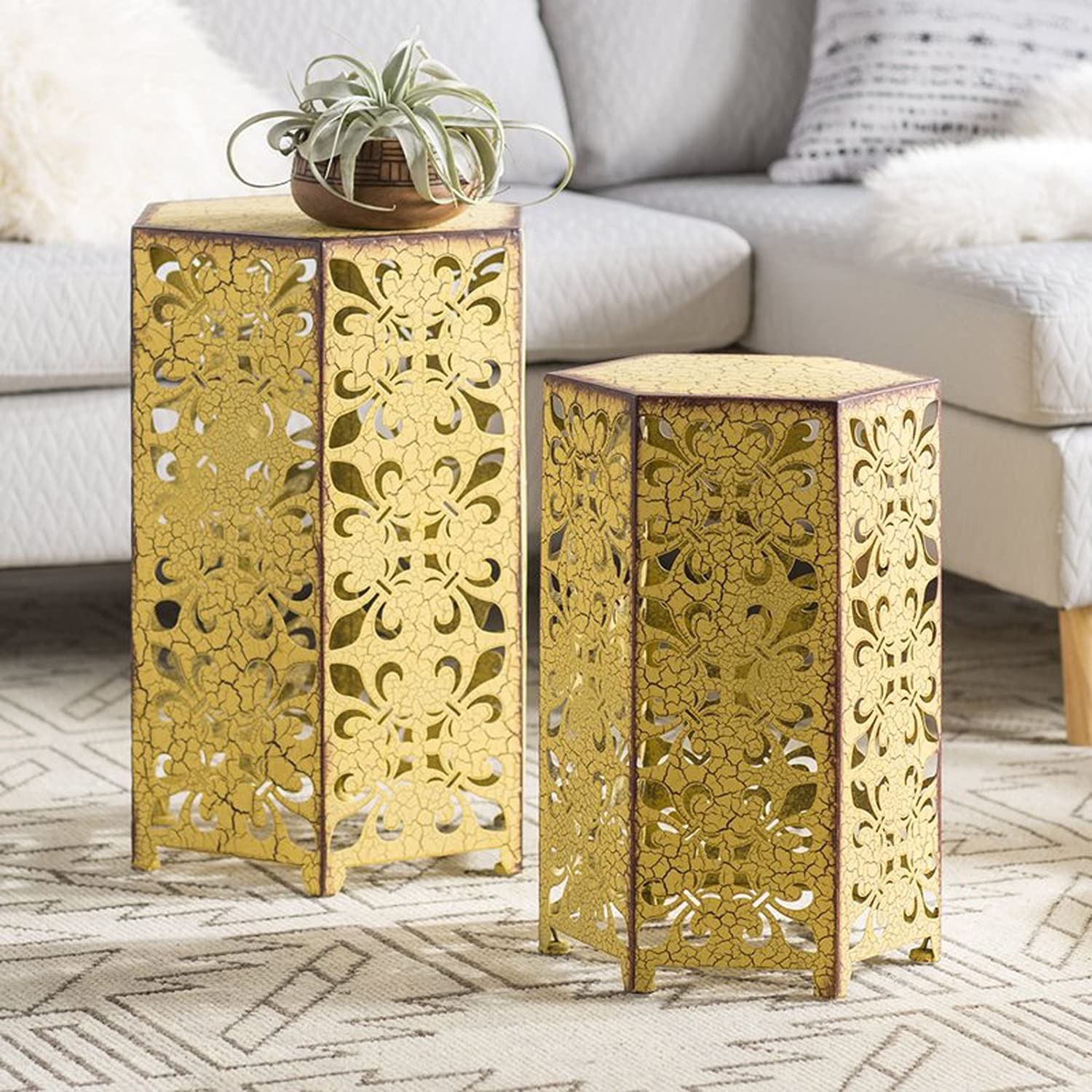 2 Piece Nesting Tables - Openwork Geometric Designs Accent Tables - Side End Living Furniture Decor (Antique Yellow) Simple Living