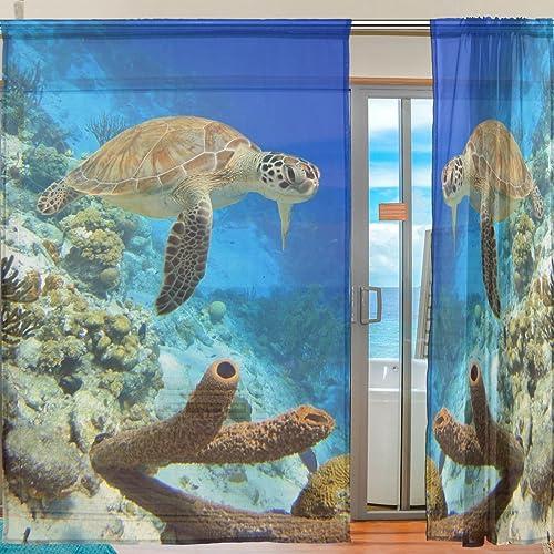 Oreayn Coral Reef Sea Turtle Sheer Curtain