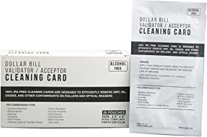 Bill Validator Acceptor MICR Reader Cleaning Cards - 2.5x6 Alcohol Free 25 Cards