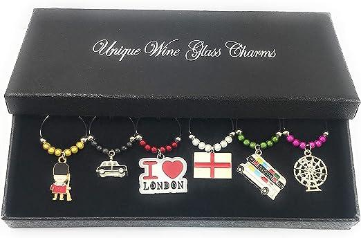 Abalorios con diseño de Londres, para copa de vino, hechos a mano ...