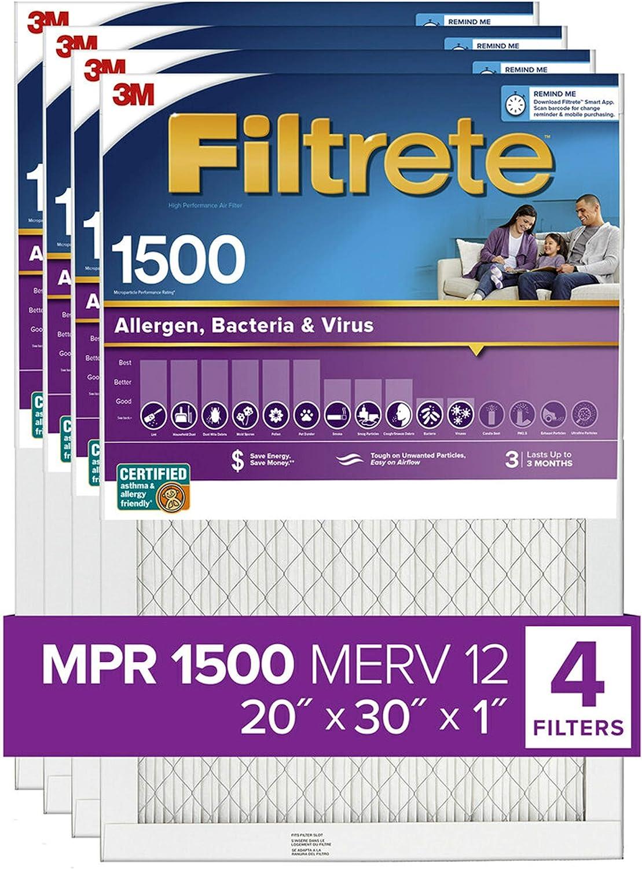 Filtrete 20x30x1, AC Furnace Air Filter, MPR 1500, Healthy Living Ultra Allergen, 4-Pack